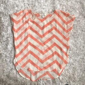 Forever 21 Chevron Sheer Rounded Hem Top Blouse
